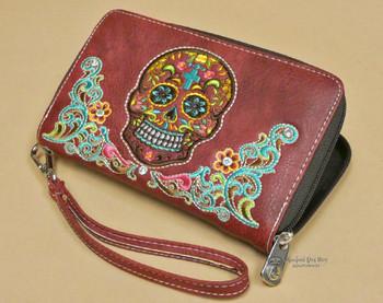 Designer Faux Leather Southwestern Wallet -Sugar Skull