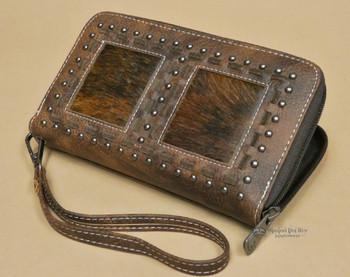 Western Faux Leather Cowhide Wallet