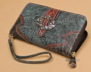 Faux Leather Western Buckle Wallet