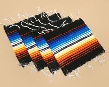 Southwestern Mexican Serape Coaster Set of 4 - Black