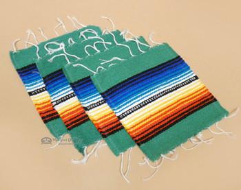Southwestern Mexican Serape Coaster Set of 4 -Teal