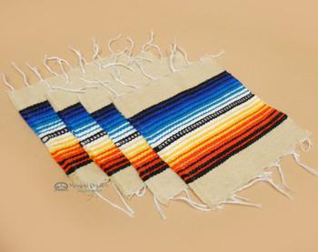 Southwestern Mexican Serape Coaster Set of 4 -Tan
