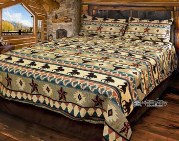King Size Southwestern Woven Bedspread Coverlet -Austin Style