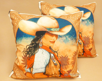 Pair of Western Cowgirl Pillow Covers - Charlie