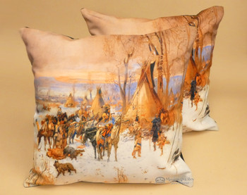 Pair of Native American Themed Pillow Covers - Indian Camp