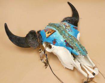 Painted Buffalo Skull -Turquoise