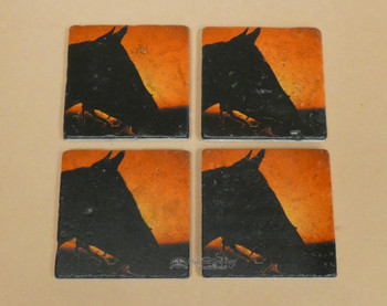 Travertine Stone Coaster  -Horse