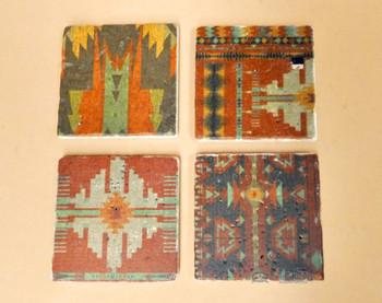 Travertine Stone Coaster Set  of 4 - Aztec