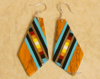 Pueblo Indian Inlay Earrings - Spiny Oyster Shell
