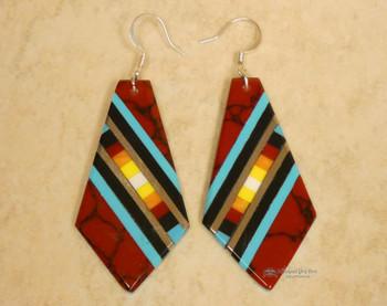 Pueblo Indian Inlay Earrings - Red Jasper