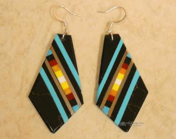 Pueblo Indian Inlay Earrings - Black Onyx