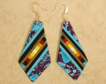 Pueblo Indian Inlay Earrings - Turquoise and Sugilite