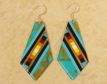 Pueblo Indian Inlay Earrings - Turquoise