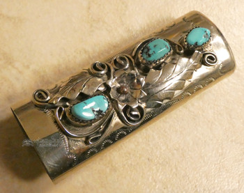 Sterling Silver and Turquoise Lighter Case - Navajo