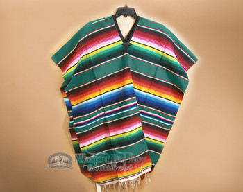 Mexican Style Serape Poncho - Teal
