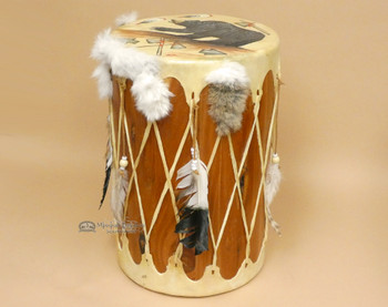 Hand Painted Tarahumara Indian Drum - Bear