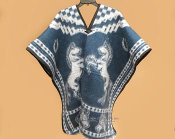 Reversible Poncho - Blue Horses