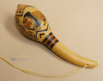 Andean Indian Etched Gourd Rattle - Buffalo