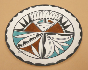 Hand Painted Tigua Pottery Clay Plate
