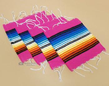 Southwestern Mexican Serape Coaster Set of 4 -Pink