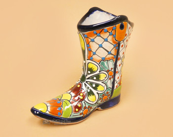 Hand Painted Mexican Talavera Boot