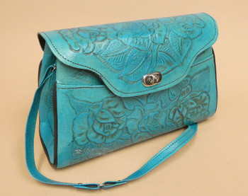 Rustic Southwestern Hand Tooled Leather Purse