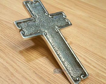 "Rustic Southwest Wall Cross Metal Art 7"" - Solid Pewter"