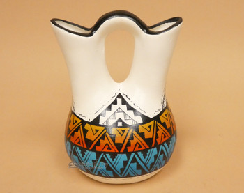 Native American Navajo Hand Painted Wedding Vase