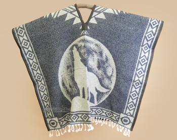 Mexican Style Blanket Poncho - Grey Wolf