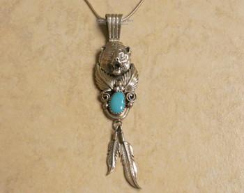 Native American Silver Bear Pendant - Navajo