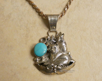 "Native American Silver Wolf Pendant Necklace 20"" -Navajo"