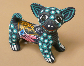 Hand Painted Clay Pottery Chihuahua Dog