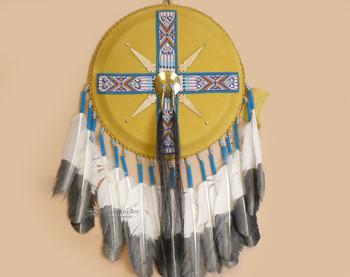 Native American Tigua Leather Beaded Shield