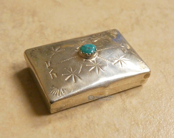 Navajo Sterling Silver and Turquoise Pill Box