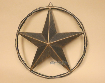 """Western Metal Barn Star - Barbed Wire Ring 12"""""""