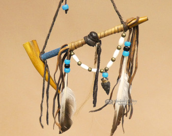Navajo Beaded Peace Pipe - Blue Beading