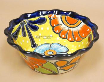 "Southwestern Talavera Flower Bowl 8.5""  (33bc43)"