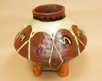 Hand Painted Tarahumaran Bean Pot  - Bear Paw