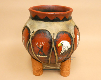 Hand Painted Tarahumaran Bean Pot  - Eagle Teepee Paw
