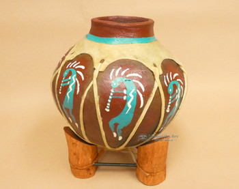 Hand Painted Tarahumaran Bean Pot - Kokopelli