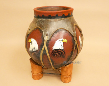 Hand Painted Tarahumaran Bean Pot - Eagle Plume