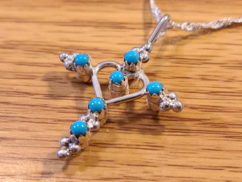 Double Cross Necklace -Turquoise side