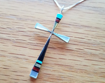 "Inlaid Silver Cross Necklace 18"" -Zuni"