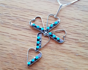 """Silver Hearts & Turquoise Cross Necklace 18"""" -Zuni"""