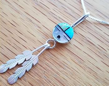 "Silver Pendant Necklace 18"" -Sun Face"