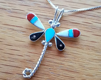 "Native American Silver Pendant Necklace 18"" -Dragon Fly"