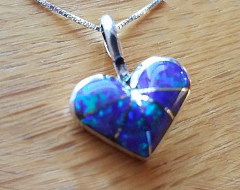 "Native Silver Heart Pendant Necklace 18"" -Opal"