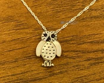 "Native American Silver Pendant Necklace 20"" -Owl"