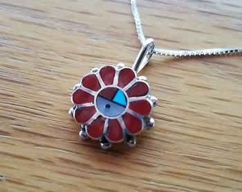 "Native American Silver Pendant Necklace 18"" -Sun Face"