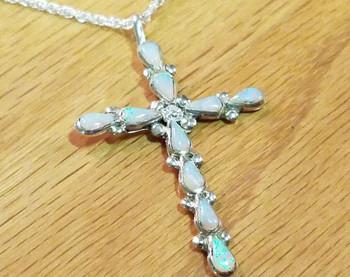 """Silver & Opal Cross Necklace 20"""" -Zuni"""